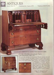Image of Samuel Luckett desk, 1810. John Shearer maker. Private collection. Photo courtesy of MESDA.