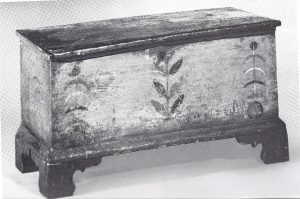 Image of Six-board chest, unidentified case maker, paint attributed to Spitler painting school, ca. 1807-1830. Photo from Antiques magazine, October 1975, p. 734.