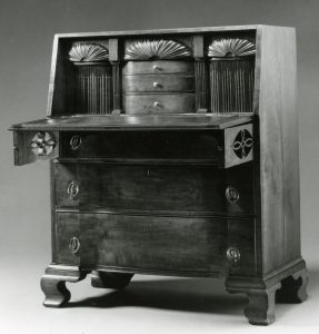 Image of British Burned desk, 1815. John Shearer maker. Private collection. Photo courtesy of MESDA.