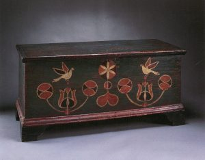 Image of Six-board chest, unidentified case maker, paint attributed to John Spitler, ca 1800-1806. Private collection. Photo courtesy of Sotheby's.