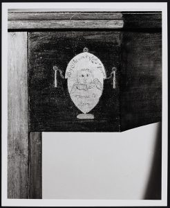 Image of Detail on Pier Table with Eliz Filler Fame to Mars incised in inlay. Photo courtesy of MESDA.