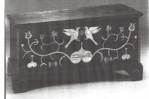 Image of Six-board chest, unidentified case maker, paint attributed to Spitler painting school, ca. 1807-1820. Photo courtesy of MESDA.